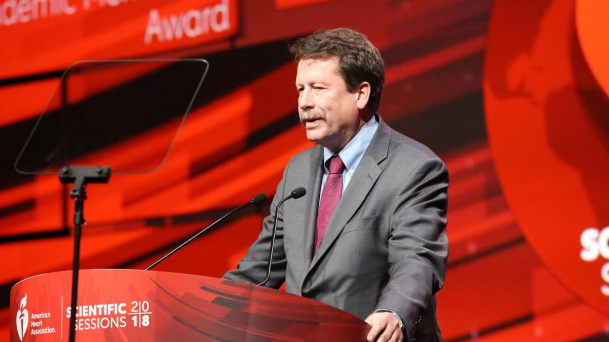 Duke Forge Director Robert M. Califf, MD, delivers a talk at the 2018 American Heart Association Meeting.