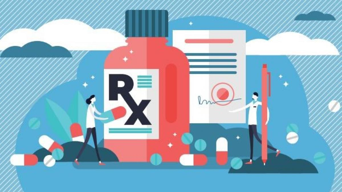 Illustration shows small human figures in foreground with oversized pills, capsules, bottles of medication, and medical charts in the background.