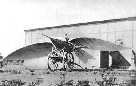1868 photograph of an early unsuccessful flying machine - Jean-Marie Le Bris' Albatross II - sitting on a pair of carriage wheels