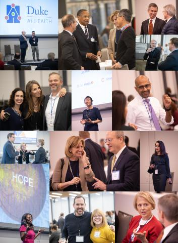 Photo collage of candid moments at 2019 Duke Health Data Science Showcase