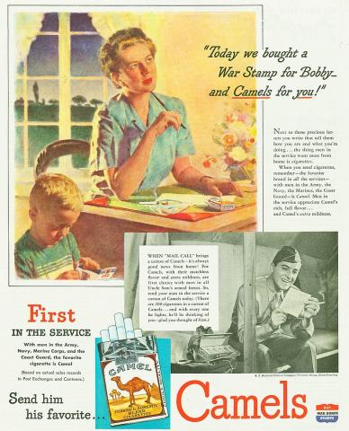 Full-page World War II-era cigarette advertisement, showing a domestic scene as a wife puts together a care package, including cigarettes, for her absent soldier husband.