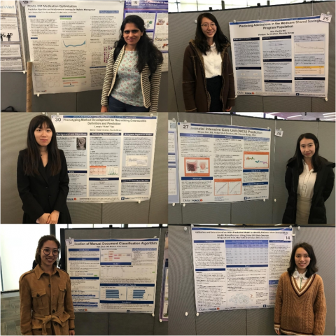 Health data science interns with their posters. Clockwise from top left: Arpita Mandan, Xilin (Cecilia) Shi, Muyao Sun, Yimeng Jia, Ran Zhou, Lanqui (Kate) Yao, Arpita Mandan.